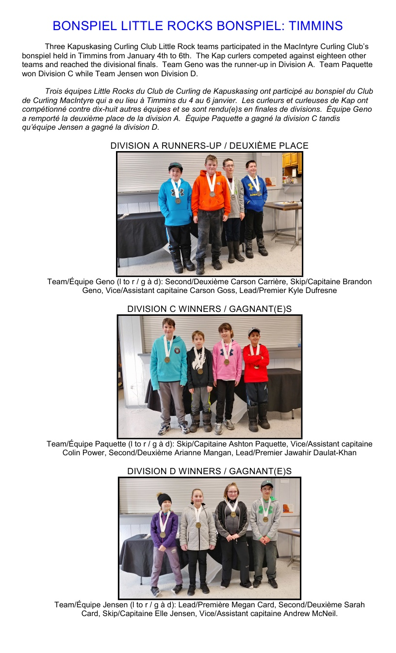 Calendrier Des Andrews.Youth Curling